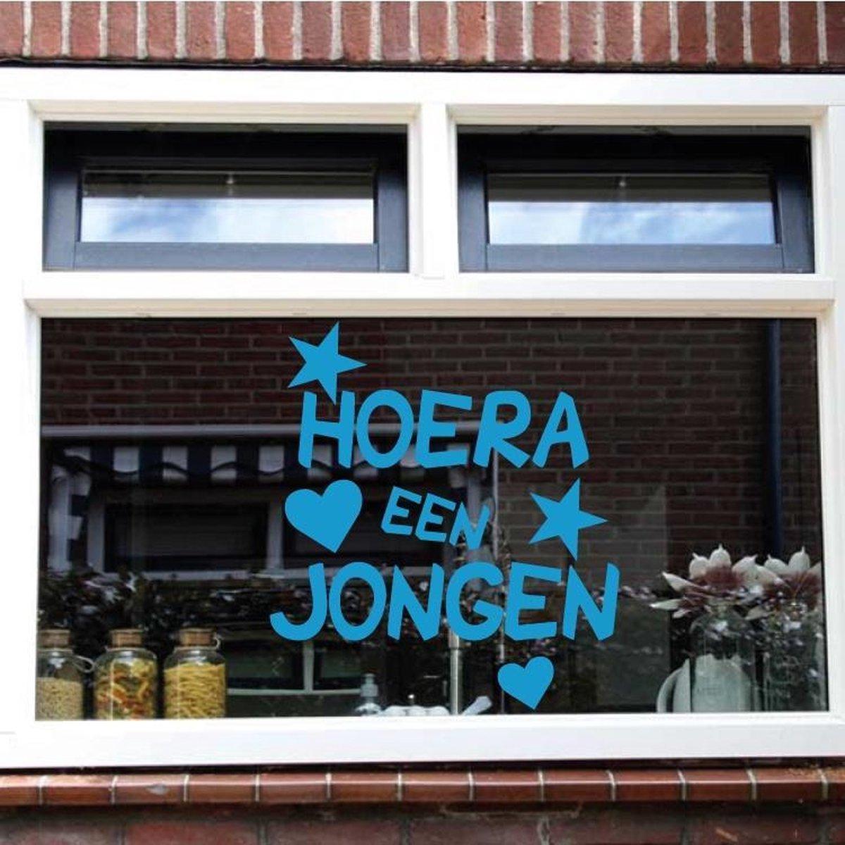 Raam Sticker Hoera Een Jongen -  Lichtbruin -  80 x 94 cm  - raam en deur stickers - geboorte stickers   - Muursticker4Sale