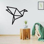 Origami Muursticker Vogel -  Zwart -  100 x 80 cm  - Muursticker4Sale