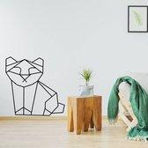 Origami Muursticker Poes -  Zwart -  80 x 80 cm  - Muursticker4Sale