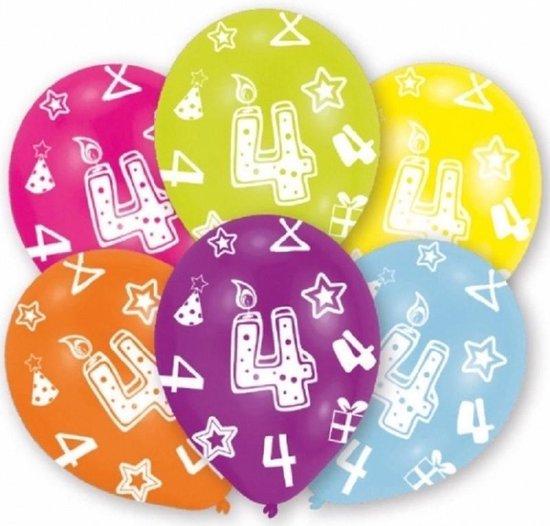 24x stuks 4 jaar leeftijd verjaardag ballonnen 27 cm - Feestartikelen en versiering