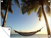 Palmbomen op een tropisch strand met een hangmat Tuinposter 80x60 cm - Tuindoek / Buitencanvas / Schilderijen voor buiten (tuin decoratie) / Zee en Strand