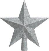 Decoris Zilveren kerstboom ster piek - Van kunststof - 19 cm - Zilver