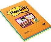 Post-it® Super Sticky Notes, Oranje, Geel,Blauw, Gelijnd, 102mm x 152 mm, 3 Blokken, 45 Blaadjes/Blok