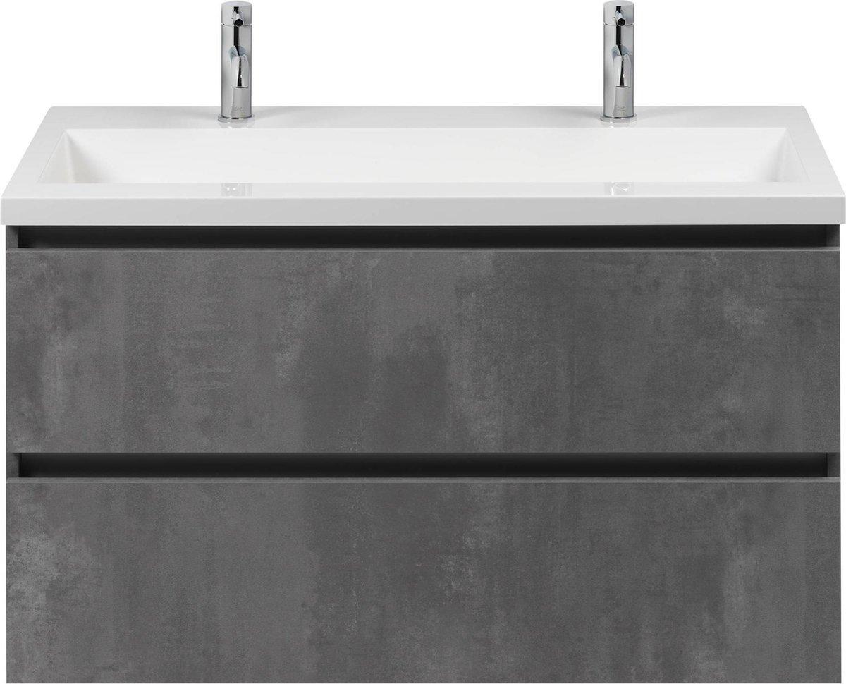 Saqu Gaia badmeubelset 100x52cm Beton Grijs greeploos met mineraalmarmeren wastafel