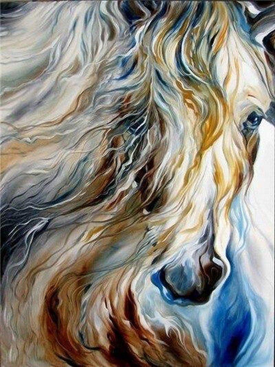 Premium Paintings - Paard met Lange Manen - Diamond Painting Volwassenen - Pakket Volledig / Pakket Full - 30x40 cm - Moederdag cadeautje