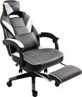 Game Stoel - Gaming stoel - Gaming chair - Met voetensteun - Racing style - Zwart/Wit