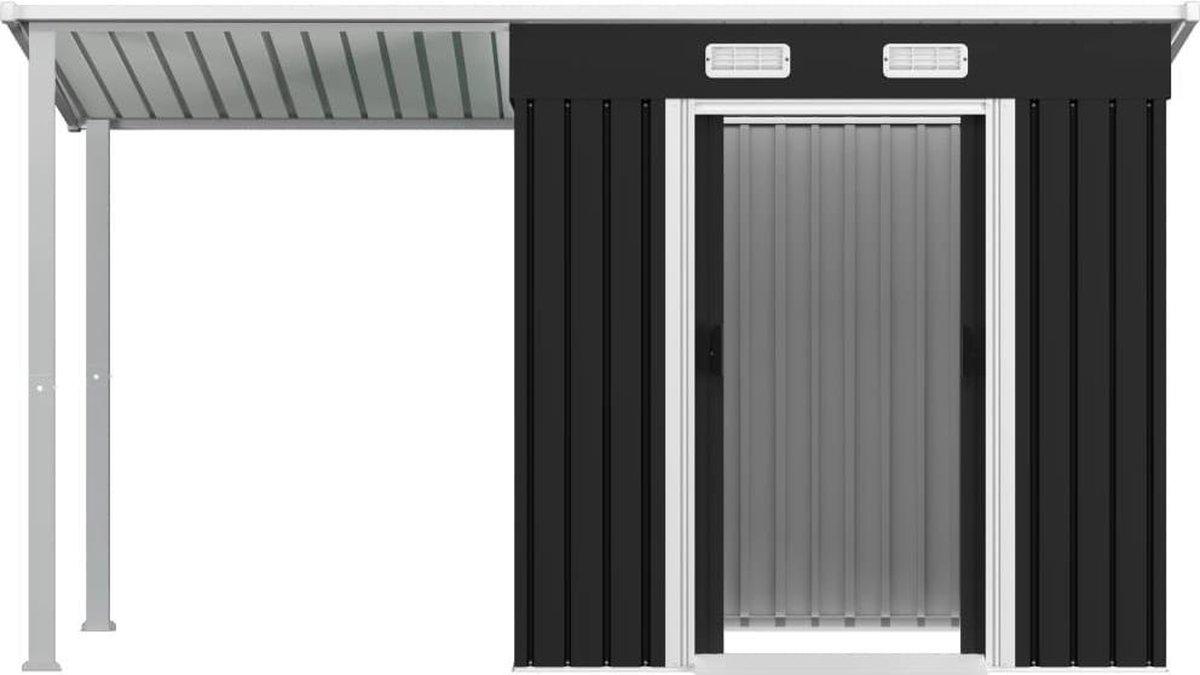 VidaXL Tuinschuur met verlengd dak 346x121x181 cm staal antraciet VDXL_144034 online kopen