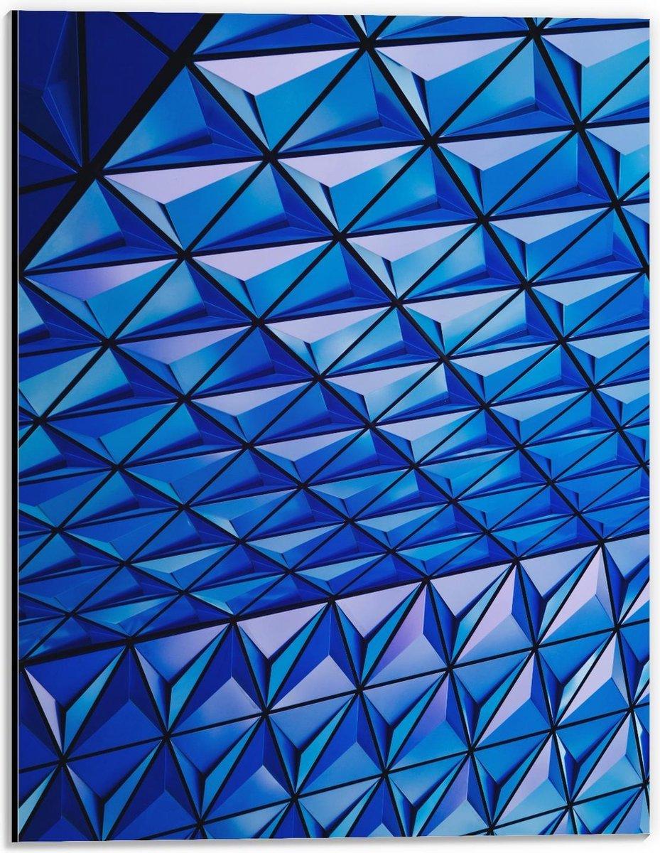 Dibond - Blauw Patroongebouw  - 30x40cm Foto op Aluminium (Met Ophangsysteem)