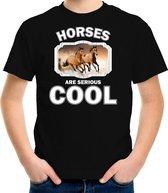 Dieren paarden t-shirt zwart kinderen - horses are serious cool shirt  jongens/ meisjes - cadeau shirt bruin paard/ paarden liefhebber M (134-140)