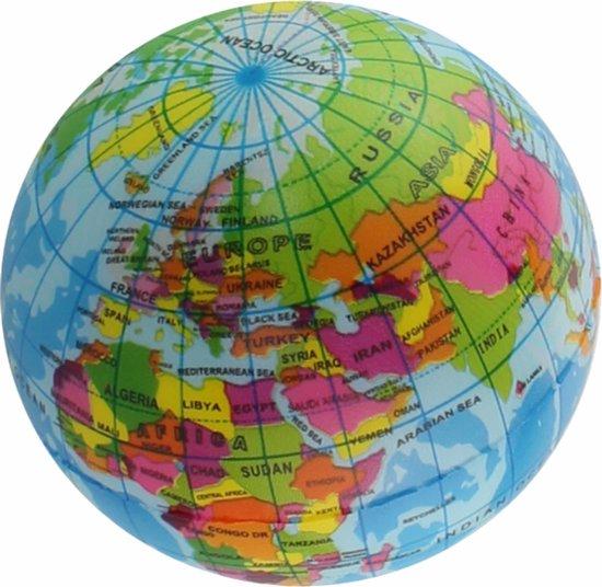 1x Anti-stress balletje planeet aarde/wereldbol/globe 7 cm - Stressballen - Anti-stress producten