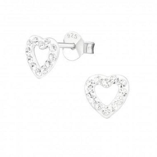 Oorbellen meisje | Zilveren kinderoorbellen | Zilveren oorstekers, open hartje met kristallen