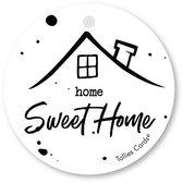 Tallies Cards - kadokaartjes  - bloemenkaartjes - Home sweet home - Black&White - set van 5 kaarten - welkom thuis - 100% Duurzaam