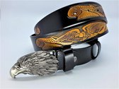 Lederen riem zwart, adelaar goudkleurig, 120cm, blackmetal adelaarskop buckle