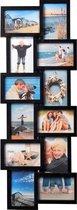 Fotolijst - Henzo - Holiday gallery - Collagelijst voor 12 foto's - Fotomaat 10x15 - Zwart