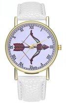 Hidzo Horloge Pijl en Boog Ø 38 - Wit - Kunstleer - In Horlogedoosje