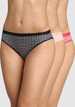 DIM Les Pockets Coton Dames Slips -3 Pack-Zwart/Roos/Rood  -Maat 42/44