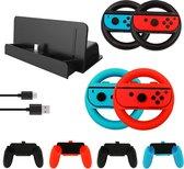 Nintendo Switch Accessoires Set 10in1 – Oplader met Standaard - Joy-con Stuur en Controller Set