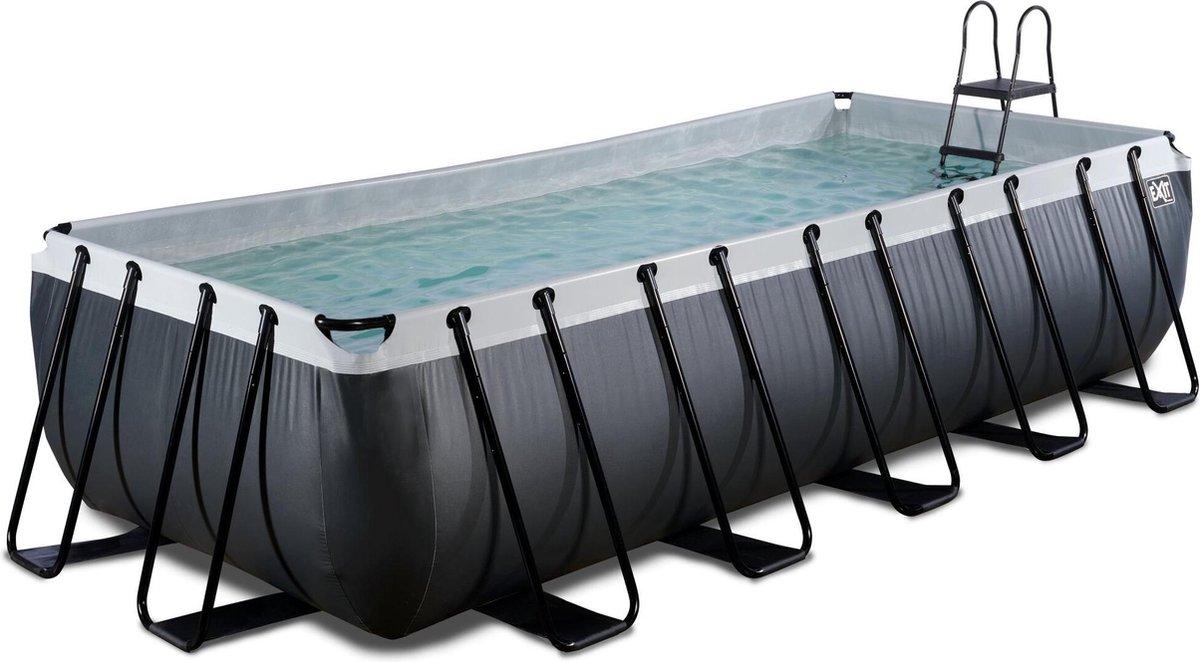 EXIT Black Leather zwembad 540x250x122cm met filterpomp - zwart