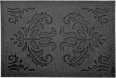 2x Rubberen schoonloopmatten zwart klassieke print 60 x 40 cm - Deurmatten schoonloopmatten