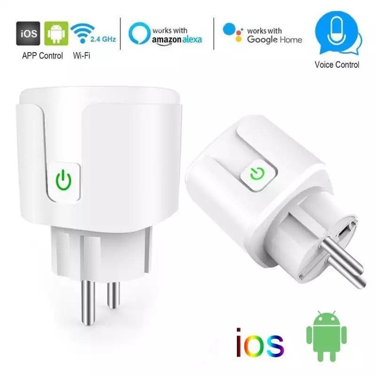 DrPhone VOICE® - Slimme Stekker- Schakelaar/Stopcontact - Smart Home - Spraakgestuurd bedienen - Google Home / Alexa - Beheer Apparaten Via Wifi / 4G - Wit