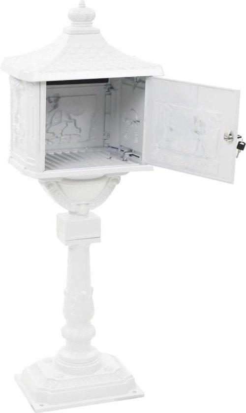 vidaXL Staande brievenbus vintage stijl roestbestendig aluminium wit
