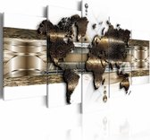 Karo Art Wereldkaart Schilderij - 200x100 Cm - Brons