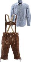 Lederhosen set | Top Kwaliteit | Lederhosen set F (goudbruine broek + blauw overhemd)-52-XXL