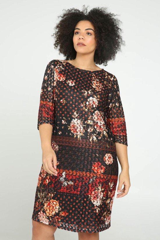 Paprika Kanten jurk met bloemenprint
