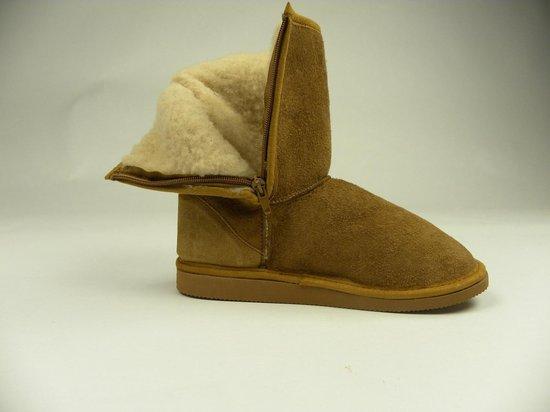 Texelana sloffen en pantoffels voor dames & heren - indoor vachtlaars pantoffel met rits van schapenvacht - model Laura- maat 37