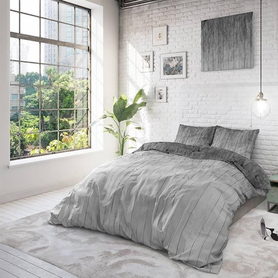 Sleeptime Wood Fresh 2 Dekbedovertrekset - Lits-Jumeaux - 240x200/220 + 2 kussenslopen 60x70 - Grijs - Sleeptime