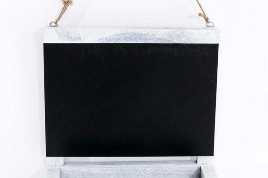 Clp Wandrek met krijtbord SABRINA houten deco rek, hangrek met 2 legplanken, bord met opbergvakken - Antiek-grijs - Clp