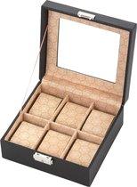 Treasury Horlogedoos 6 stuks - Horlogebox met glas - Opbergbox kunstleder - Heren en Dames - Zwart