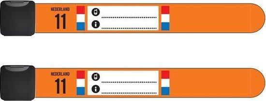 Infoband polsbandjes - Set van 2 SOS naambandjes voor kinderen – ID armbandjes - Nederland – Oranje