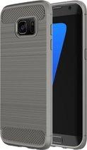 For Samsung Galaxy S7 Edge / G935 Brushed structuur Fiber TPU Rugged Armor beschermings hoesje(grijs)