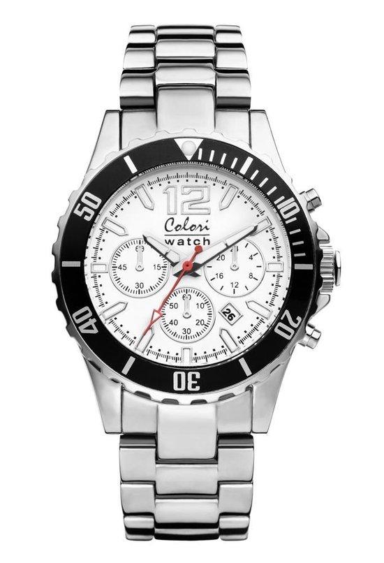 Colori 5-COL152 – Horloge – Wit met zilverkleurig – 40 mm