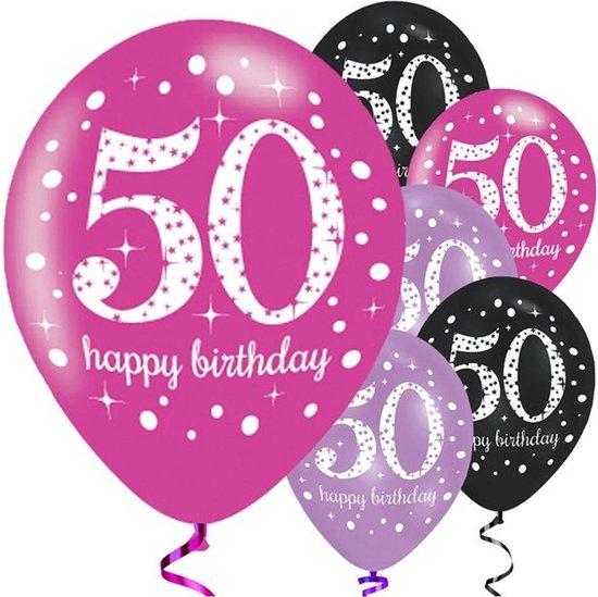 Ballonnen '50 Happy Birthday' Assorti - 6 stuks