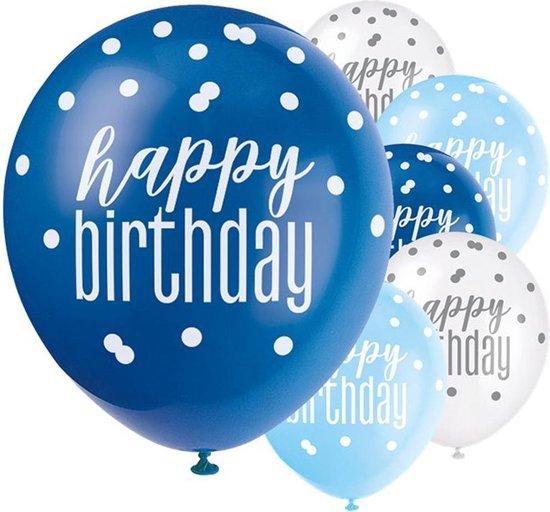 Ballonnen Happy Birthday Blauw Wit - 6 stuks
