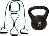 Tunturi - Fitness Set - Tubing Set Groen - Kettlebell 16 kg