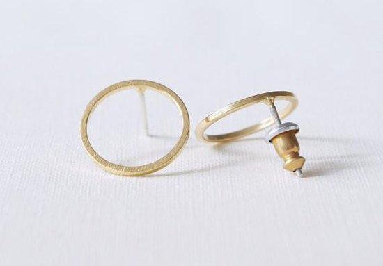 24/7 Jewelry Collection Cirkel Oorbellen - Open - Oorknopjes - Geborsteld - Minimalistisch - Goud - Amodi
