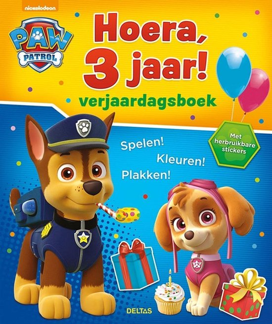 Afbeelding van Deltas Paw Patrol Hoera, 3 jaar! Verjaardagsboek – jongens & meisjes – doeboek speelgoed
