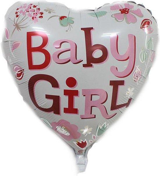 Folieballon Baby girl hart 45cm