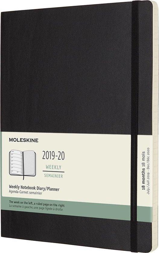 Moleskine 18 MND Agenda - 2019/20 - Wekelijks - XL (19x25 cm) - Zwart - Zachte Kaft