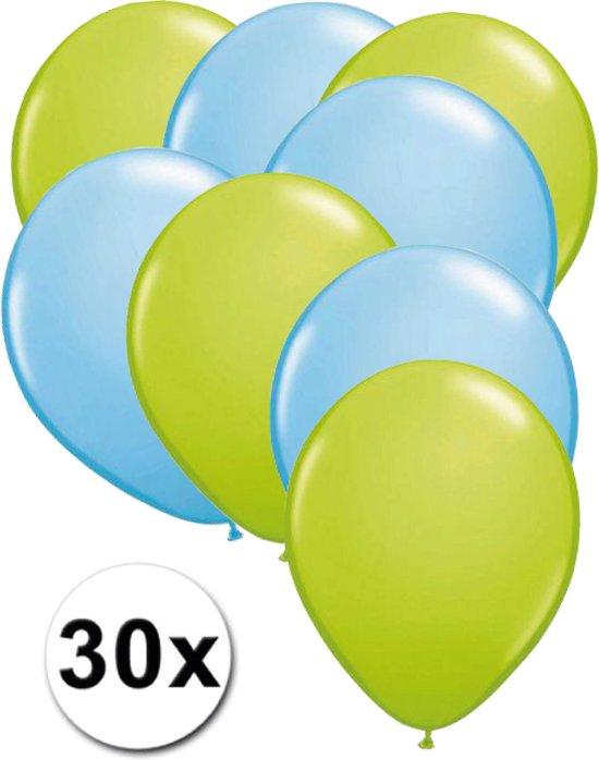 Ballonnen Licht groen & Licht blauw 30 stuks 27 cm