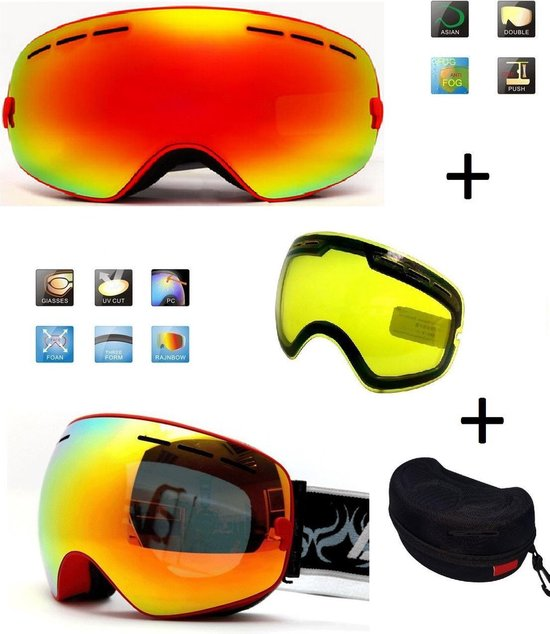 Ski bril met box en EXTRA lens Smoke red frame Rood F type 1 Cat. 0 tot 4 - ☀/☁