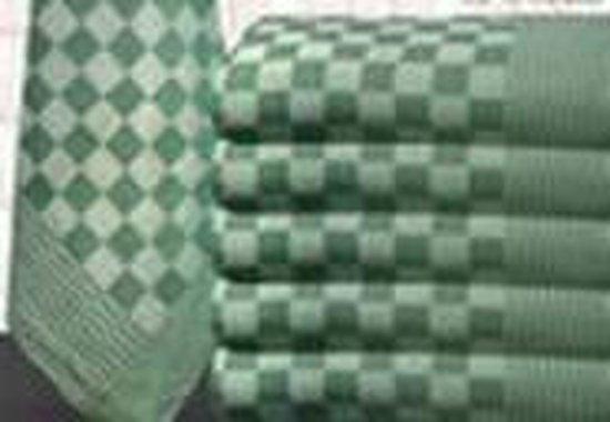 Theedoeken, 12 stuks, 70X70cm, Groen - Wit Geblokt, Katoen