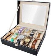 Luxe Horlogedoos Met Kussentjes - Horloge-Opbergbox Houder Kist - Opbergkist Heren/Dames - Zwart Leer - 10 Horloges Compartimenten