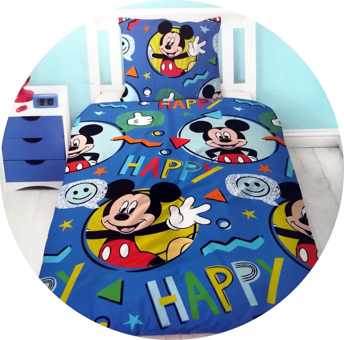 Disney Mickey Mouse Happy - Dekbedovertrek - Eenpersoons - 140 x 200 - Blauw kopen