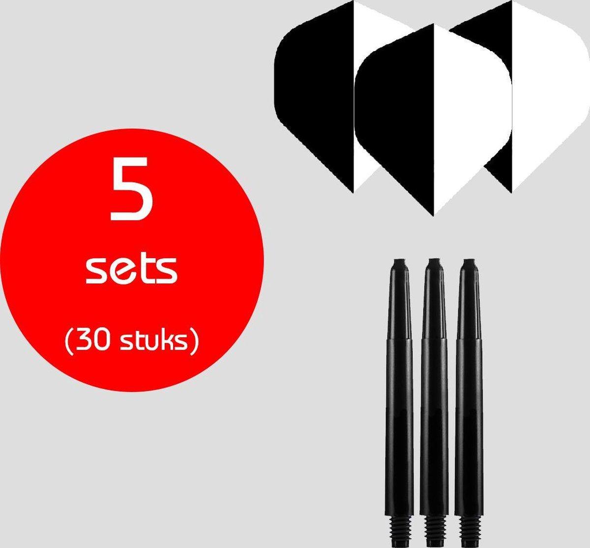 Dragon Darts - 5 sets (30 stuks) - medium - darts shafts - inclusief - two-tone - darts flights - zwart-wit