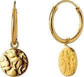 Violet Hamden Luna 925 Sterling Zilveren Goudkleurige Full moon hammered hoops Oorbellen  - Goud