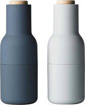Menu New Norm Bottlegrinder Peper- en zoutmolen - Blauw - Set van 2 stuks